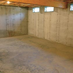 A cleaned out basement in Huntington Station, shown before remodeling has begun