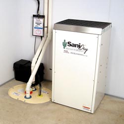 An ENERGY STAR® Rated basement dehumidifier installed in a home in Brookhaven