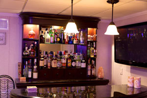 A basement bar installed in a finished basement in Smithtown