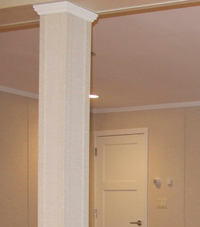 Easy Wrap column sleeves in Babylon basement