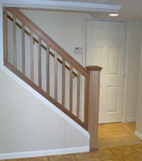 Renovated basement staircase in Farmingville