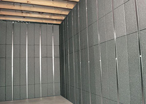 SilverGlo™ insulation and metal studs making up our Basement to Beautiful™ panels.  Installed in Babylon.