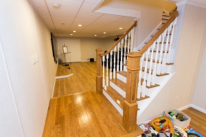 Finishing touches for a remodeled basement in Smithtown