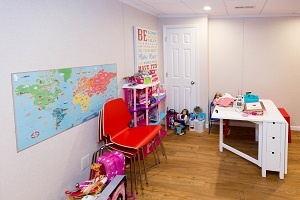 Children's playroom installed in a Brookhaven basement