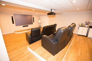 A Basement Turned Into A Home Theater In Islip